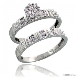10k White Gold Diamond Engagement Rings Set 2-Piece 0.09 cttw Brilliant Cut, 1/8 in wide -Style Ljw017e2