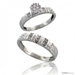 10k White Gold Diamond Engagement Rings 2-Piece Set for Men and Women 0.11 cttw Brilliant Cut, 3.5mm & 5mm wide -Style Ljw017em