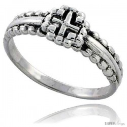 Sterling Silver Beaded Cross Ring 5/16 in wide