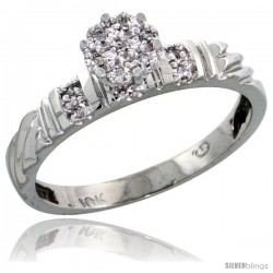 10k White Gold Diamond Engagement Ring 0.06 cttw Brilliant Cut, 1/8in. 3.5mm wide -Style Ljw017er