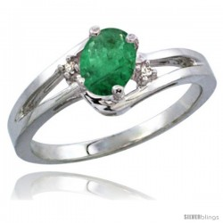 14k White Gold Ladies Natural Emerald Ring oval 6x4 Stone Diamond Accent -Style Cw415165