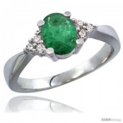 14k White Gold Ladies Natural Emerald Ring oval 7x5 Stone Diamond Accent -Style Cw415168