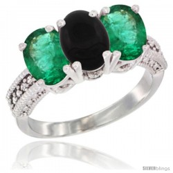 14K White Gold Natural Black Onyx & Emerald Sides Ring 3-Stone 7x5 mm Oval Diamond Accent