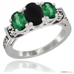 14K White Gold Natural Black Onyx & Emerald Ring 3-Stone Oval with Diamond Accent
