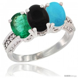 14K White Gold Natural Emerald, Black Onyx & Turquoise Ring 3-Stone 7x5 mm Oval Diamond Accent
