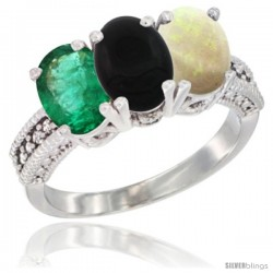 14K White Gold Natural Emerald, Black Onyx & Opal Ring 3-Stone 7x5 mm Oval Diamond Accent