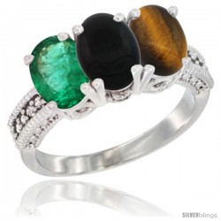 14K White Gold Natural Emerald, Black Onyx & Tiger Eye Ring 3-Stone 7x5 mm Oval Diamond Accent
