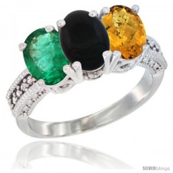 14K White Gold Natural Emerald, Black Onyx & Whisky Quartz Ring 3-Stone 7x5 mm Oval Diamond Accent