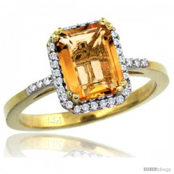 14k Yellow Gold Diamond Citrine Ring 1.6 ct Emerald Shape 8x6 mm, 1/2 in wide -Style Cy409129