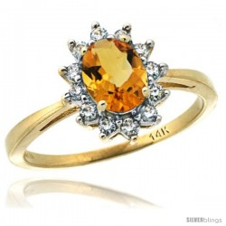 14k Yellow Gold Diamond Halo Citrine Ring 0.85 ct Oval Stone 7x5 mm, 1/2 in wide