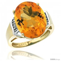14k Yellow Gold Diamond Citrine Ring 9.7 ct Large Oval Stone 16x12 mm, 5/8 in wide