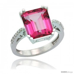 Sterling Silver Diamond Natural Pink Topaz Ring 5.83 ct Emerald Shape 12x10 Stone 1/2 in wide