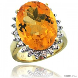 14k Yellow Gold Diamond Halo Citrine Ring 10 ct Large Oval Stone 18x13 mm, 7/8 in wide
