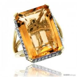 14k Yellow Gold Diamond Citrine Ring 14.96 ct Emerald shape 18x13 mm Stone, 13/16 in wide