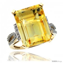 14k Yellow Gold Diamond Citrine Ring 12 ct Emerald Shape 16x12 Stone 3/4 in wide