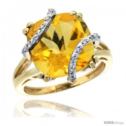 14k Yellow Gold Diamond Citrine Ring 7.5 ct Cushion Cut 12 mm Stone, 1/2 in wide