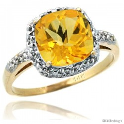 14k Yellow Gold Diamond Citrine Ring 2.08 ct Cushion cut 8 mm Stone 1/2 in wide