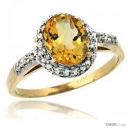 14k Yellow Gold Diamond Citrine Ring Oval Stone 8x6 mm 1.17 ct 3/8 in wide