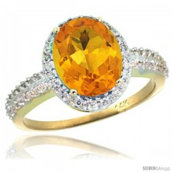 14k Yellow Gold Diamond Citrine Ring Oval Stone 10x8 mm 2.4 ct 1/2 in wide