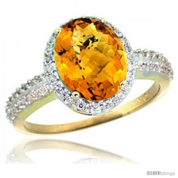 10k Yellow Gold Diamond Whisky Quartz Ring Oval Stone 10x8 mm 2.4 ct 1/2 in wide