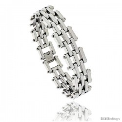 Gent's Stainless Steel Bar Bracelet, 3/4 in wide, 8 1/2 in long