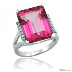 Sterling Silver Diamond Natural Pink Topaz Ring 12 ct Natural Emerald Cut 16x12 stone 3/4 in wide