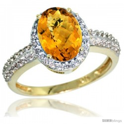10k Yellow Gold Diamond Whisky Quartz Ring Oval Stone 9x7 mm 1.76 ct 1/2 in wide