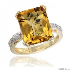 10k Yellow Gold Diamond Whisky Quartz Ring 5.83 ct Emerald Shape 12x10 Stone 1/2 in wide