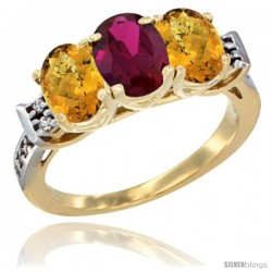 10K Yellow Gold Natural Ruby & Whisky Quartz Sides Ring 3-Stone Oval 7x5 mm Diamond Accent
