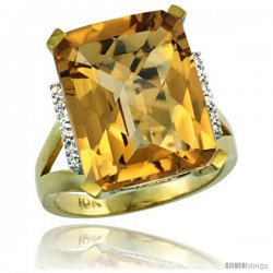 10k Yellow Gold Diamond Whisky Quartz Ring 12 ct Emerald Cut 16x12 stone 3/4 in wide