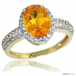 14k Yellow Gold Diamond Citrine Ring Oval Stone 9x7 mm 1.76 ct 1/2 in wide