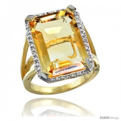 14k Yellow Gold Diamond Citrine Ring 14.96 ct Emerald shape 18x13 Stone 13/16 in wide