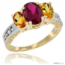 14k Yellow Gold Ladies Oval Natural Ruby 3-Stone Ring with Citrine Sides Diamond Accent