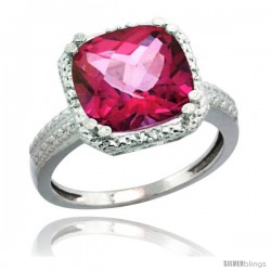 Sterling Silver Diamond Natural Pink Topaz Ring 5.94 ct Checkerboard Cushion 11 mm Stone 1/2 in wide