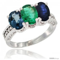 14K White Gold Natural London Blue Topaz, Emerald & Blue Sapphire Ring 3-Stone 7x5 mm Oval Diamond Accent