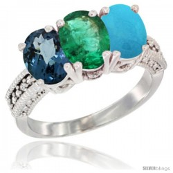 14K White Gold Natural London Blue Topaz, Emerald & Turquoise Ring 3-Stone 7x5 mm Oval Diamond Accent