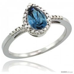 14k White Gold Diamond London Blue Topaz Ring 0.59 ct Tear Drop 7x5 Stone 3/8 in wide