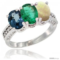 14K White Gold Natural London Blue Topaz, Emerald & Opal Ring 3-Stone 7x5 mm Oval Diamond Accent