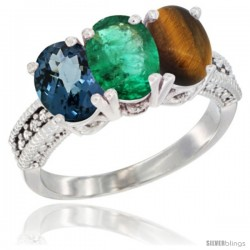 14K White Gold Natural London Blue Topaz, Emerald & Tiger Eye Ring 3-Stone 7x5 mm Oval Diamond Accent