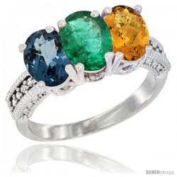 14K White Gold Natural London Blue Topaz, Emerald & Whisky Quartz Ring 3-Stone 7x5 mm Oval Diamond Accent