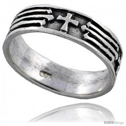 Sterling Silver Cross Wedding Band Ring
