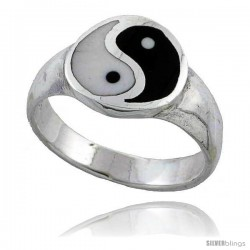 Sterling Silver Polished Yin - Yang Ring 7/16 in wide