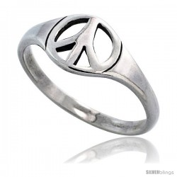 Sterling Silver Peace Sign Ring 5/16 in wide
