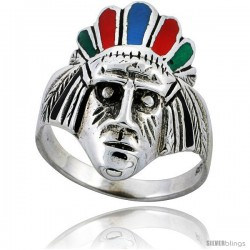 Sterling Silver Multi Color Indian Chief Head Ring