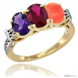 10K Yellow Gold Natural Amethyst, Ruby & Coral Ring 3-Stone Oval 7x5 mm Diamond Accent