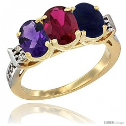 10K Yellow Gold Natural Amethyst, Ruby & Lapis Ring 3-Stone Oval 7x5 mm Diamond Accent