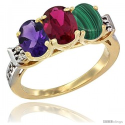 10K Yellow Gold Natural Amethyst, Ruby & Malachite Ring 3-Stone Oval 7x5 mm Diamond Accent