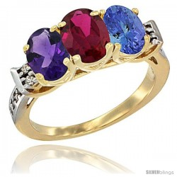 10K Yellow Gold Natural Amethyst, Ruby & Tanzanite Ring 3-Stone Oval 7x5 mm Diamond Accent