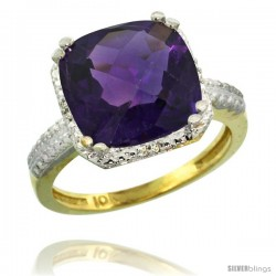 10k Yellow Gold Diamond Amethyst Ring 5.94 ct Checkerboard Cushion 11 mm Stone 1/2 in wide