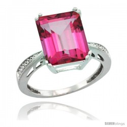 Sterling Silver Diamond Natural Pink Topaz Ring 5.83 ct Emerald Shape 12x10 Stone 1/2 in wide -Style Cwg06149